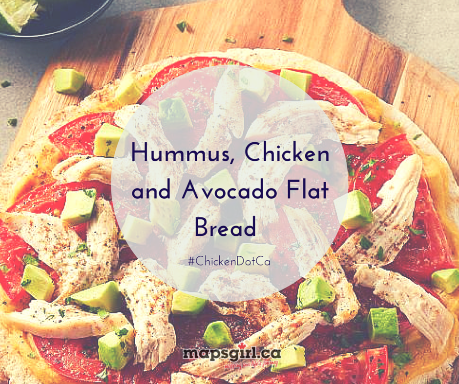 Hummus Chicken Avacado Flatbread #ChickenDotCA