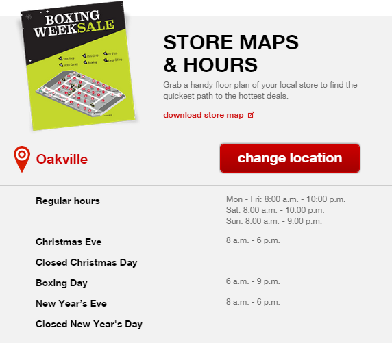 Target Boxing Day Store Map